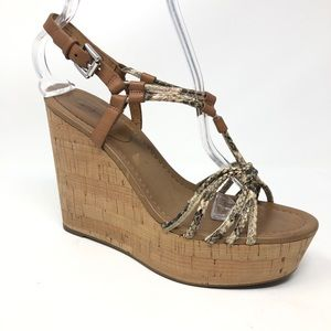 Coach Georgina Snakeskin High Wedge Sandal Size 8
